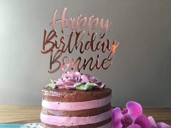 Pleasant New Rose Gold Mirror Custom Happy Birthday Cake Topper Name Etsy Birthday Cards Printable Nowaargucafe Filternl