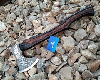 Unique Custom Handmade  Steeliness Steel Engraved Axes  Knife  & leather Cover Loved Gift Axes