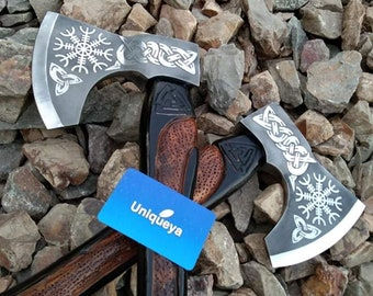 Unique Custom Handmade  Steeliness Steel Engraved Axes  Knife Lot of 2 pcs   & leather Cover Loved Gift Axes