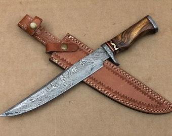 Custom Handmade Damascus Steel Bowie knife