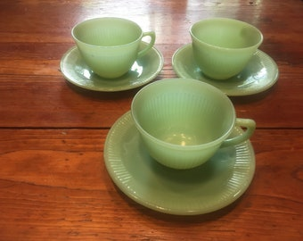 Fire-king Jane Ray jadeite cups and saucers