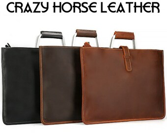CRAZY HORSE Leather Laptop Bag 335199212dbbb