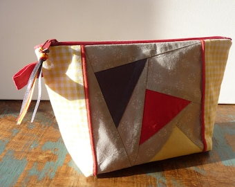 Retro makeup patchwork and gingham / / cosmetic pouch / / yellow, red, taupe / / unique / / gift for her
