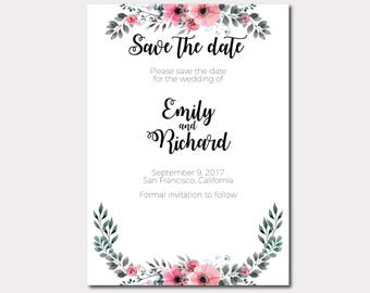 Save the Date Printable Template, Save the date editable, Wedding Save the Date Template Printable Wedding Stationery DIY Edit print trim 1A