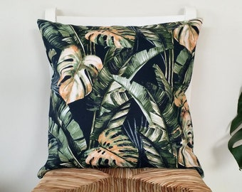 Monstera cushion cover, Tropical print cushion, Palm leaf pillow.