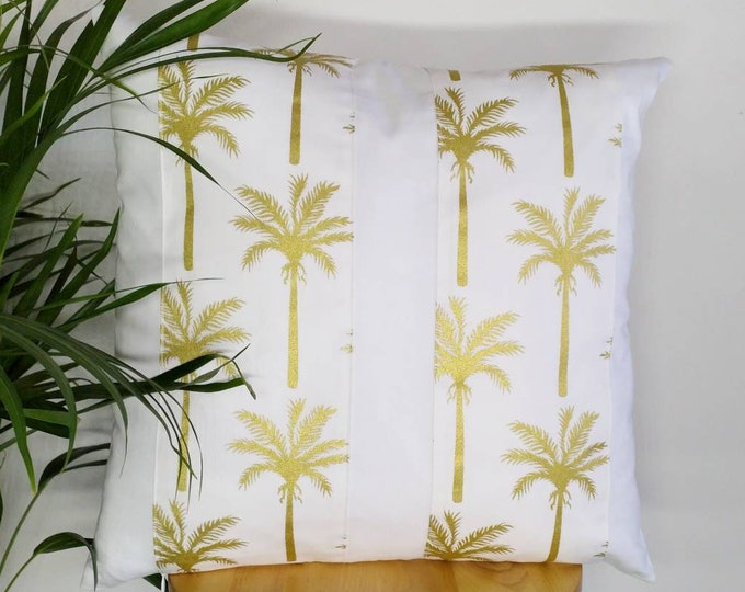 Featured listing image: White cover with gold palm tree print panels/stripes cushion cover