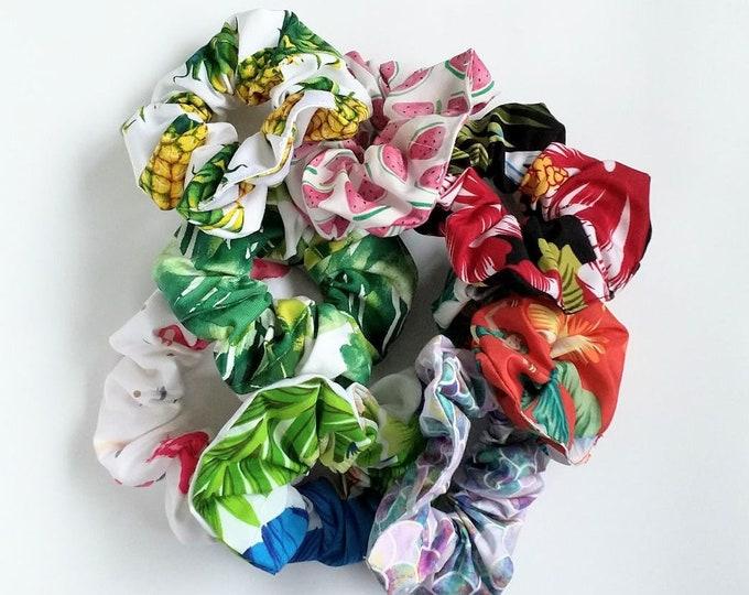 Tropical scrunchies, Scrunchie, Pineapple scrunchie, Flamingo, watermelon, hibiscus, hair tie, hair accessories, handmade.