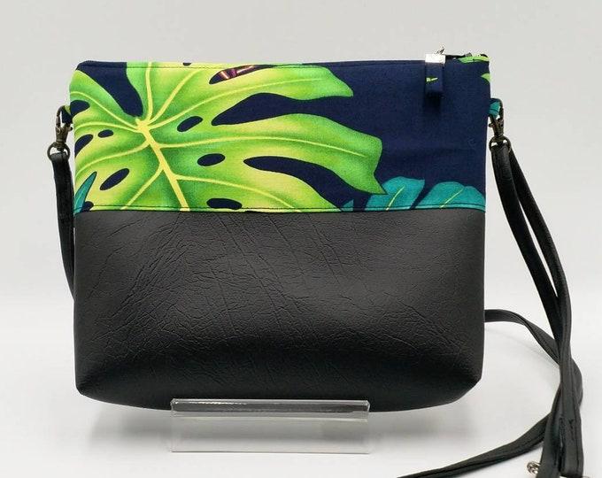 Tropical bag, Tropical handbag, crossbody bag, Monstera bag, Palm bag.