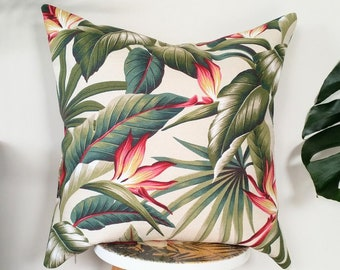 Bird of Paradise, Palm leaves Hawaiian cushion cover
