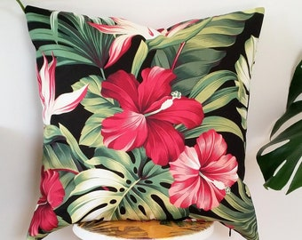 Monstera, Hibiscus, Palms, Bird of Paradise Hawaiian cushion cover