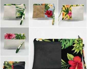 Tropical Hawaiian print clutch