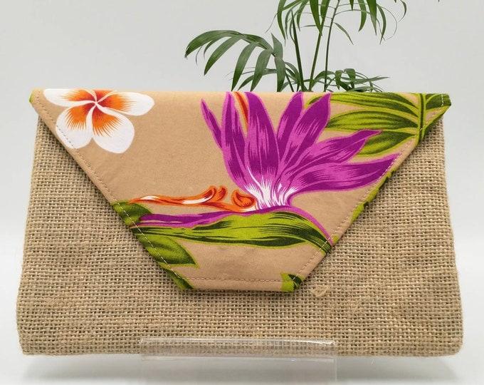 Tropical clutch, Tropical purse, Tropical bag, Tropical pouch.