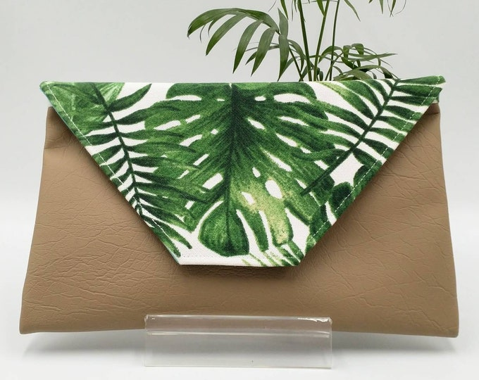 Tropical clutch, Monstera clutch, Monstera purse, Tropical purse, Tropical bag, Tropical pouch.