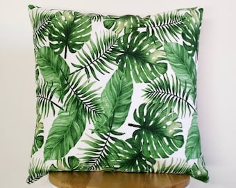 Tropical Monstera, palm leaves print cushion cover