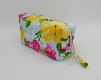 Tropical make up bag, hawaiian make up bag, tropical cosmetic bag, hawaiian cosmetic bag
