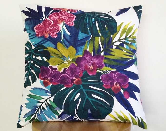 Tropical Monstera and Orchid cushion cover