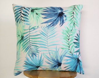 Tropical cushion cover, Aqua cushion cover, Palm leaf cushion cover.