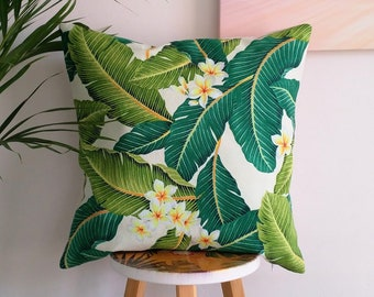 Hawaiian cushion cover, Tropical cushion cover, Frangipani cushion cover, Palm leaf cushion cover.