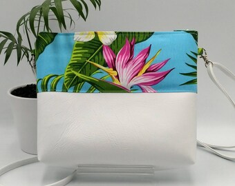 Tropical white and blue crossbody bag