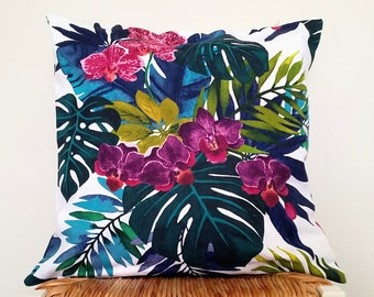 Coastal cushion cover, Monstera cushion, Orchid pillow.