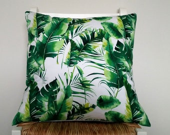 Tropical cushion cover, Palm leaf cushion, Banana leaf cushion.