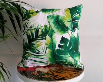 Small tropical cushion, tropical pillow, palm leaf cushion, banana leaf cushion, palm leaf pillow
