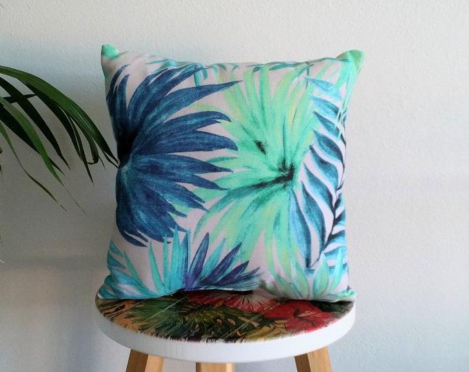 Small tropical cushion, palm leaf cushion, tropical pillow, decorative cushion