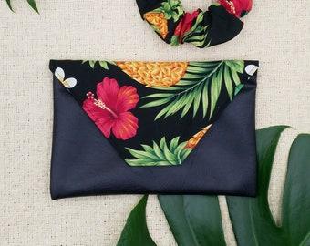 Tropical clutch, Hawaiian fabric clutch.