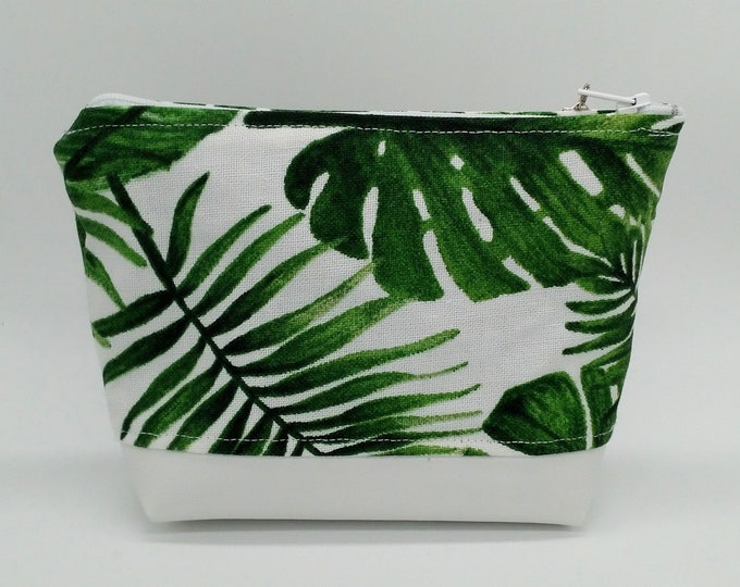 Tropical Monstera makeup bag for cosmetics, toiletries, travel