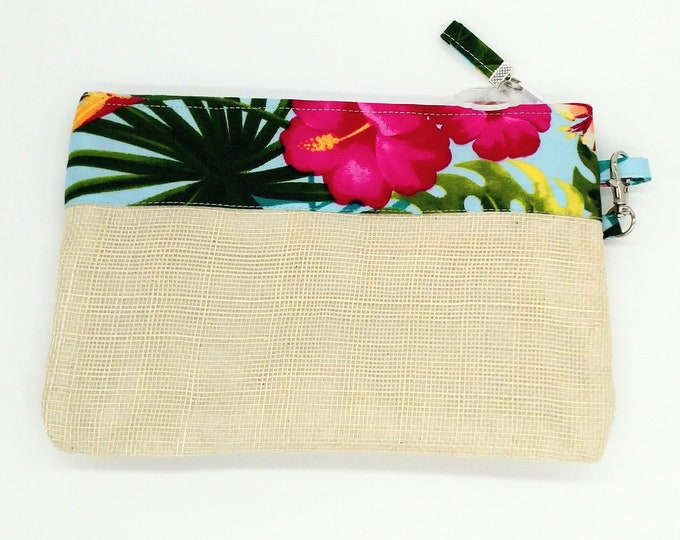 Tropical clutch, Tropical purse, Tropical wristlet, Tropical bag, Hawaiian clutch, Tropical travel bag, Tahitian, Tahiti