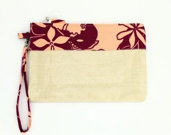 Tropical clutch, Tropical purse, Tropical wristlet, Tropical bag, Hawaiian print clutch, Tropical travel bag, Clutch, Hawaiian bag, Tahitian