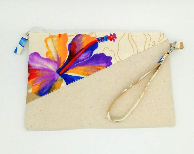 Tropical clutch, Tropical purse, Tropical wristlet, Tropical bag, Hawaiian print clutch, Tropical travel bag, Hawaiian bag, Evening bag