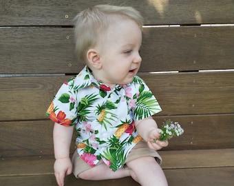 Tropical baby shirt, baby boys shirt, infant white shirt, Baby Hawaiian fabric shirt