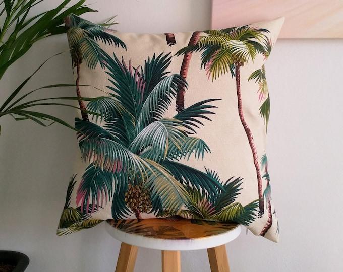 Hawaiian cushion cover, Tropical cushion cover, Palm tree cushion cover.