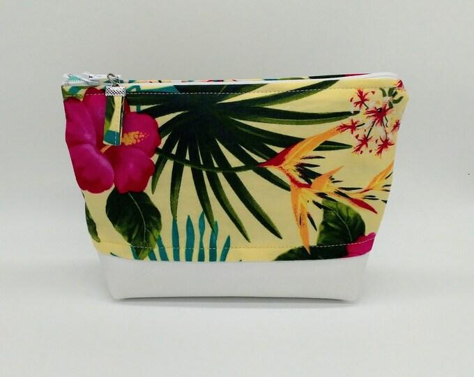 Tropical makeup bag, Tropical cosmetic bag, Tropical bag, Hawaiian makeup bag, Hawaiian bag, Tropical travel bag, Tahitian bag, makeup bag