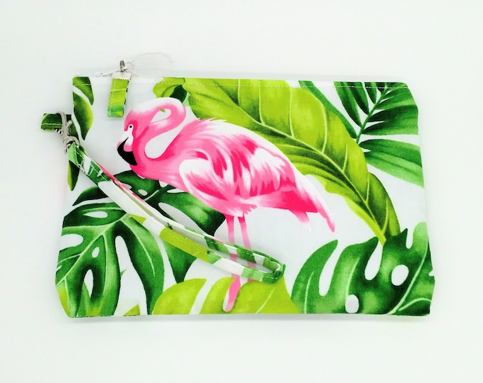 Tropical clutch, tropical purse, Flamingo clutch, tropical bag, Flamingo purse, tropical travel bag