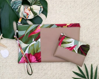 Medium tropical clutch and coin purse.