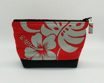 Tropical makeup bag, Tropical cosmetic bag, Tropical toiletry bag, Hawaiian makeup bag, Tahitian bag, Tropical travel bag