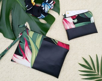 Small tropical black clutch and coin purse.