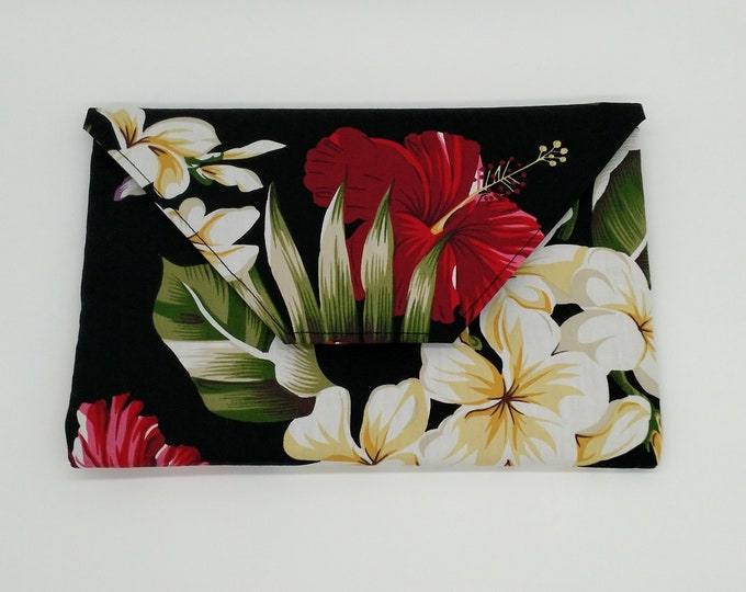 Tropical clutch, Tropical purse, Palm leaves clutch, Hibiscus clutch, Tropical evening bag, Tropical bag, Travel bag, Tahitian purse