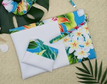 Large white clutch, Tropical hawaiian purse, large travel wallet, tropical blue wristlet