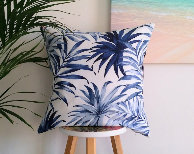 Blue palms outdoor cushion cover