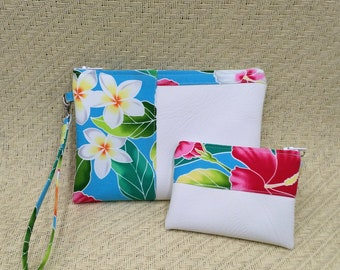 Small tropical clutch and coin purse.
