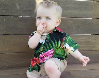 Tropical baby shirt, baby boys shirt, infant shirt, Baby Hawaiian fabric shirt