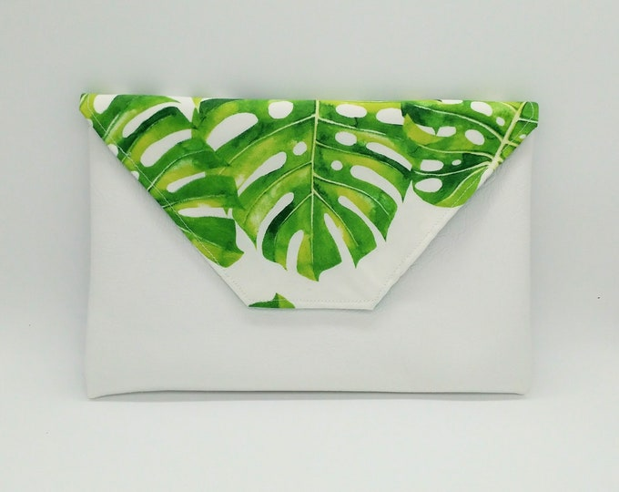 Tropical monstera clutch, Tropical purse, Tropical bag, Hawaiian purse, Travel bag, Beach wedding purse