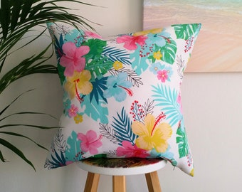 Tropical Hibiscus outdoor cushion cover
