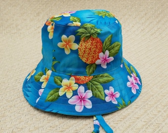 Turquoise blue tropical baby bucket hat