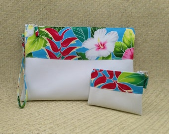 Large tropical blue clutch and coin purse.