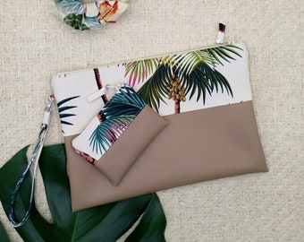 Large palm tree clutch and coin purse.
