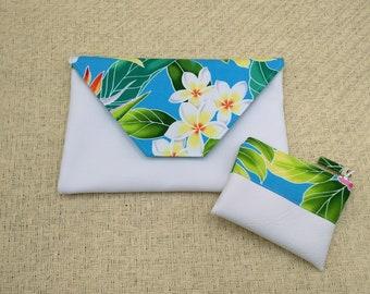 Tropical clutch, Turquoise blue clutch, fold clutch, tropical coin purse.